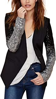 Enlishop Women Formal Sequin Leather Blazer Jacket Cardigan Trench Coat Business Suit