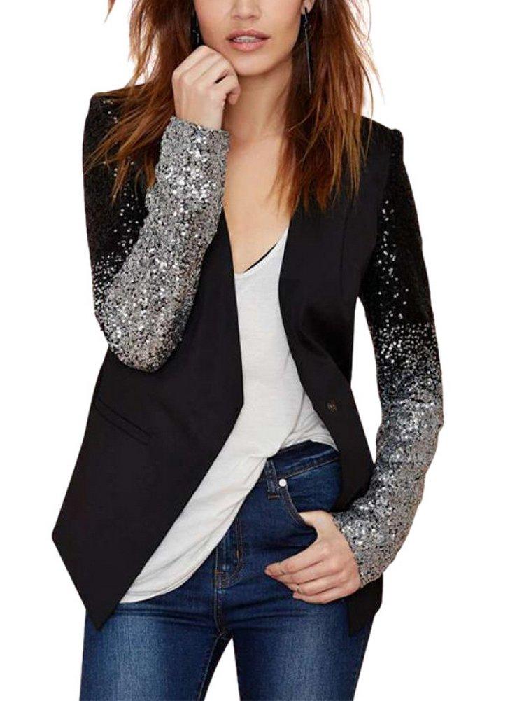 Enlishop Women Formal Sequin Leather Blazer Jacket Cardigan Trench Coat Business Suit M Black by Enlishop