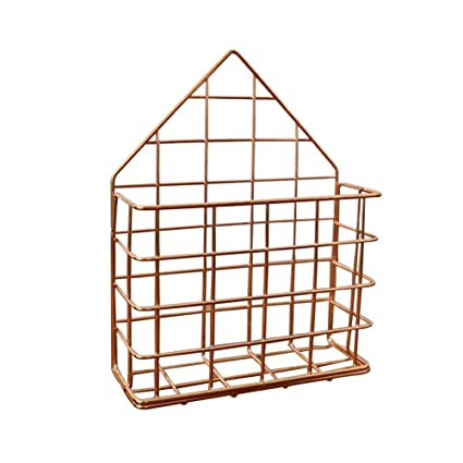 Gati Way Iron Wall Mounted Storage Rack, Desktop Files Storage Basket  Design In Nordic