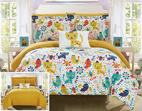 Chic Home Flopsy 8 Piece Reversible Comforter Cute Animal Friends Youth Design Bed in a Bag-Sheet Set Decorative Pillow Shams Included Size, Full, Yellow (Bed In A Bag Youth)