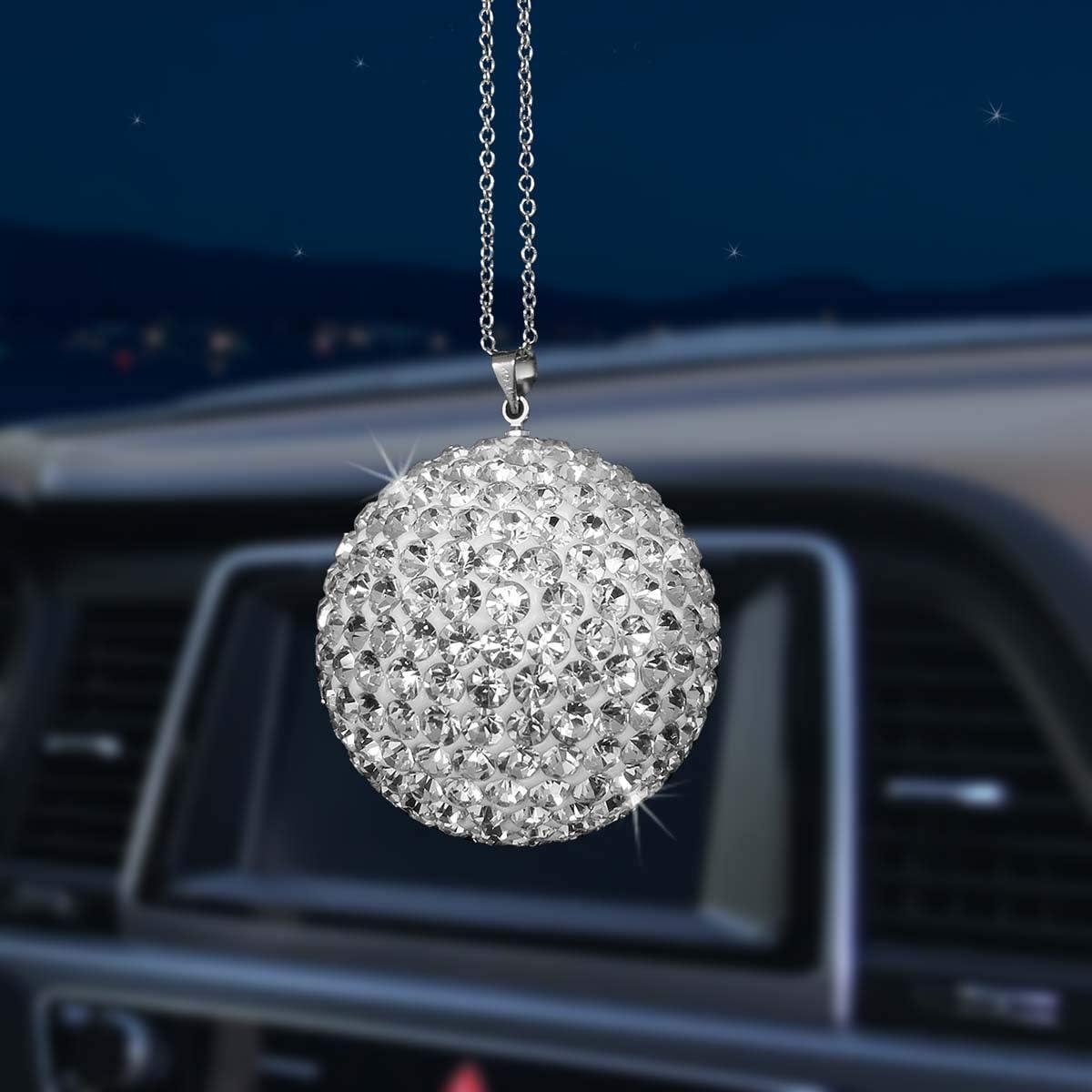 Star Car Pendant Mirror Pendant Inlay Pearl Rhinestone Ornaments Bling Decor Crystal Car Ornament Rear View Mirror Charm with Fur Tail Balls Cute Creative Car Accessories Hanging Decoration