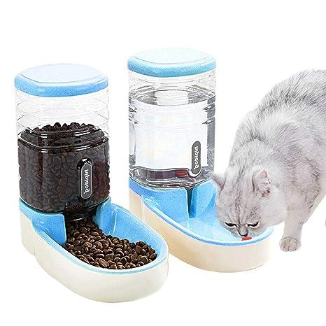 UniqueFit Pets Gatos Perros Riego automático y alimentador de Alimentos 3.8 L con 1 * dispensador de Agua y 1 * alimentador automático para Mascotas ...