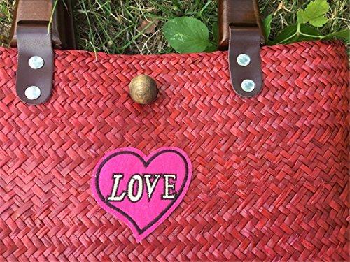 Bag De Huang love Woven Iove Bolsos Straw Tailandesa De Rattan Retro De Love Mano Bordado hong Playa VersióN Hand Bag Hierba Bolsa Travel Holiday 16wxSU