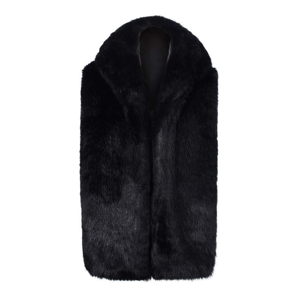 PASATO Men Faux Fur Vest Jacket Sleeveless Winter Body Warm Coat Hooded Waistcoat Gilet
