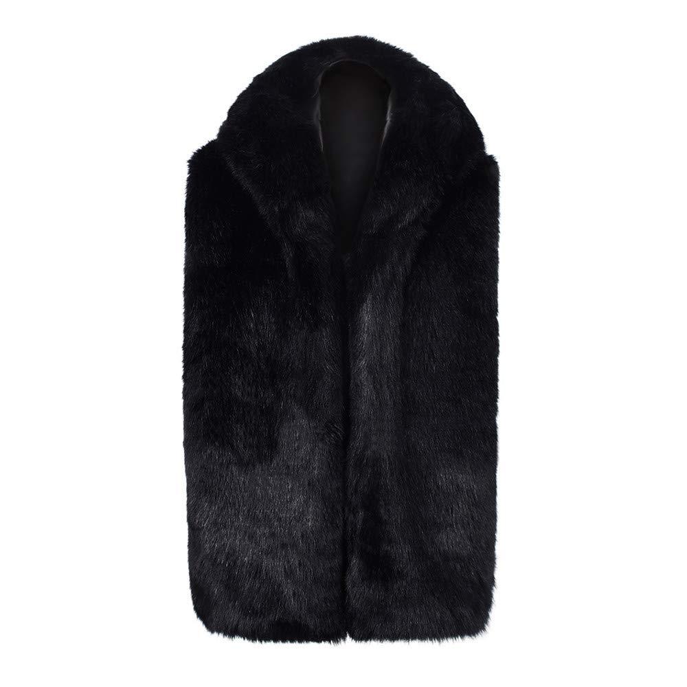 Men's Jacket for Men Faux Fur Winter Warm Coat Hooded Waistcoat Gilet,Windbreaker (L,Black)