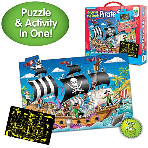 The Learning Journey Puzzle Doubles Glow in the Dark - Pirate Ship - 100 Piece Glow in the Dark Preschool Puzzle (3 x 2 feet) - Educational Gifts for Boys & Girls Ages 3 and Up
