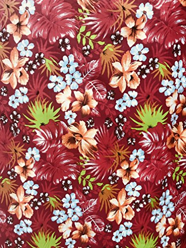 Red Hawaiian Flowers Mix Print Poly Cotton Fabric by The Yard (Red) ()