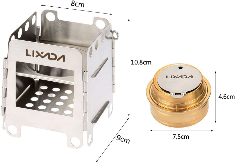 Lixada Stainless Steel Lightweight Folding Wood Pocket Stove Outdoor M2H8