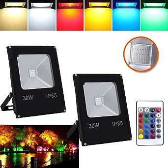 HG® Foco RGB 2X 30W LED Proyector Resistente al agua IP65 Lámpara ...