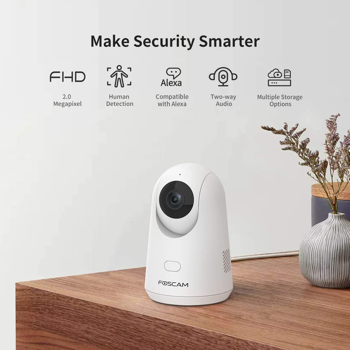 WiFi Camera Indoor,Foscam X2 1080P Home Security IP Camera,Baby Monitor with Audio, Human Detection, Motion Sound Detection, Night Vision, Cloud Storage, Works with Alexa