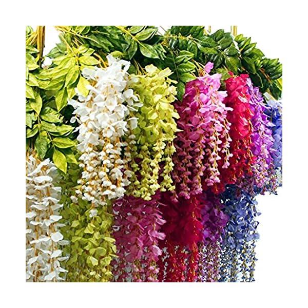 "Calcifer 43"" Set of 9 Artifical Wisteria String Hanging Silk Flower String Wedding Decor (Pink)"