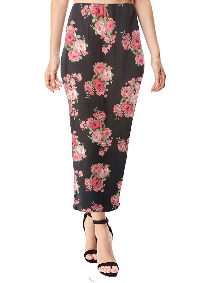 Black Fuchsia Floral Print Brushed MoDDeals Women's Midi Long Pencil Straight Skirt Solid & Floral Maxi Casual, Office, Dressy Bodycon