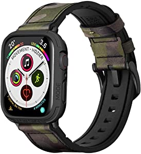 Mifa Rugged Hybrid Sports Band with Elkson Bumper Case Compatible with Apple Watch Series 5 4 44mm 42mm replacement strap - Camouflage