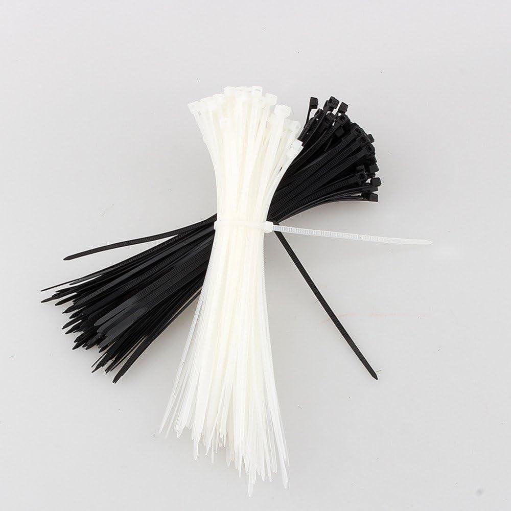 Daorier Lot de 100 Serre-C/âbles de Nylon Attache-C/âble Colliers de Serrage Plastique Autobloquant 3/×200 mm Blanc