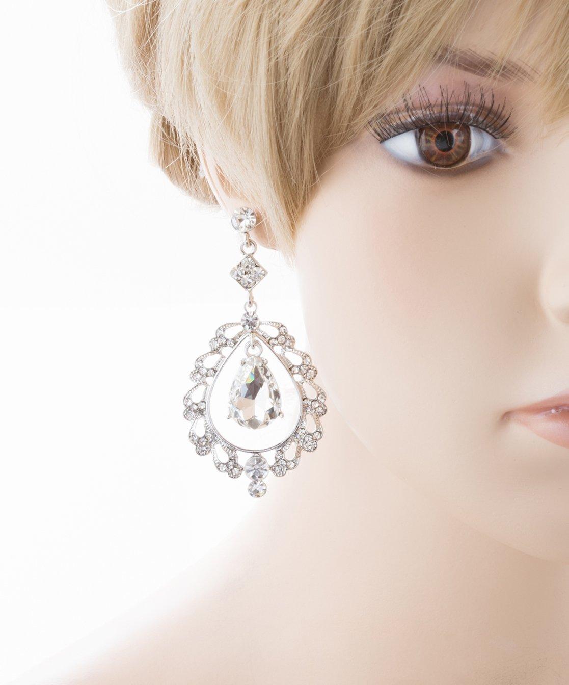 Bridal Wedding Crystal Rhinestone Teardrop Open Dangling Drop Fashion Earrings by Accessoriesforever (Image #2)