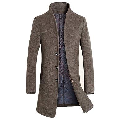 93db4db052bca Carmonoudi Men s Wool Coat Slim Long Section Overcoat at Amazon Men s  Clothing store