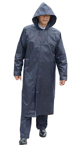 Pivaconis Men's Waterproof Rain Wear Long Raincoat Rain Jacket ...