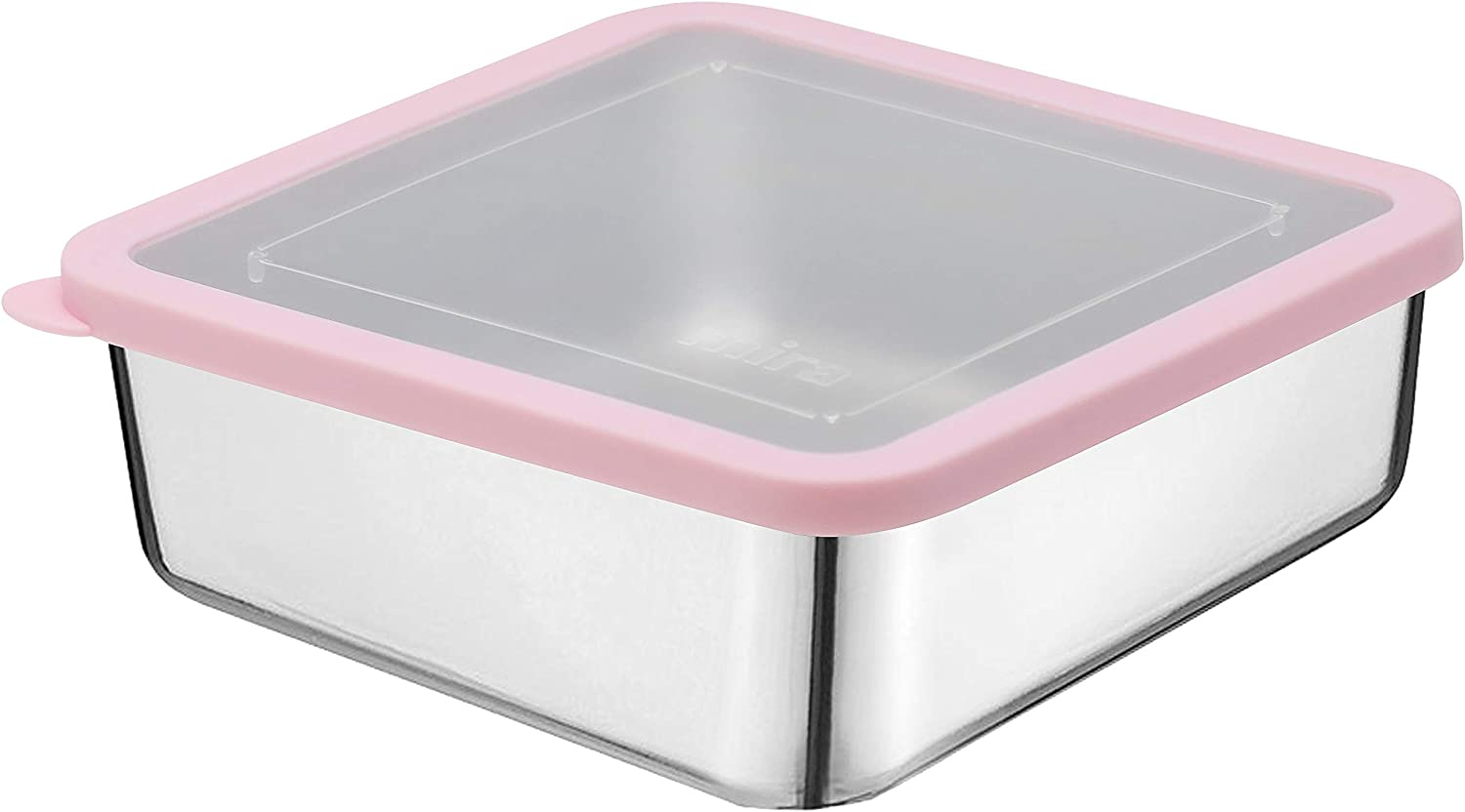 MIRA Stainless Steel Lunch Box Food Storage Container | BPA Free, Eco-Friendly, Reusable Sandwich Box & Snack Container | For Kids & Adults | 6 x 6 in | Transparent Lid (Rose Pink)