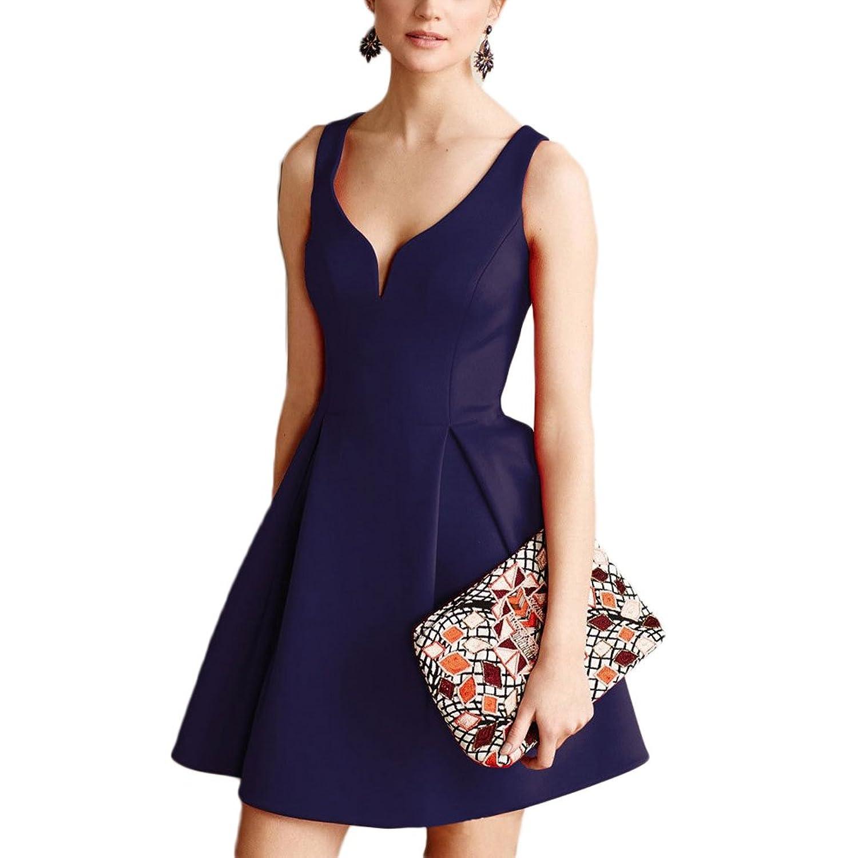 WintCO Damen Sexy Armlos Kleid V-Ausschnitt Sommerkleid