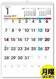 ボーナス付 2019年1月~(2020年1月付)月曜はじまり タテ長ファミリー壁掛けカレンダー 太字タイプ(六曜入) A3サイズ[H]