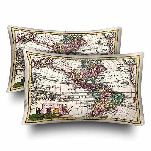 Lifestyle California Set Chair - InterestPrint Wiegel Map of the Americas Showing California As An Island Pillow Cases Pillowcase Queen Size 20x30 Set of 2, Rectangle Pillow Covers Protector for Home Couch Sofa Bedroom Decoration