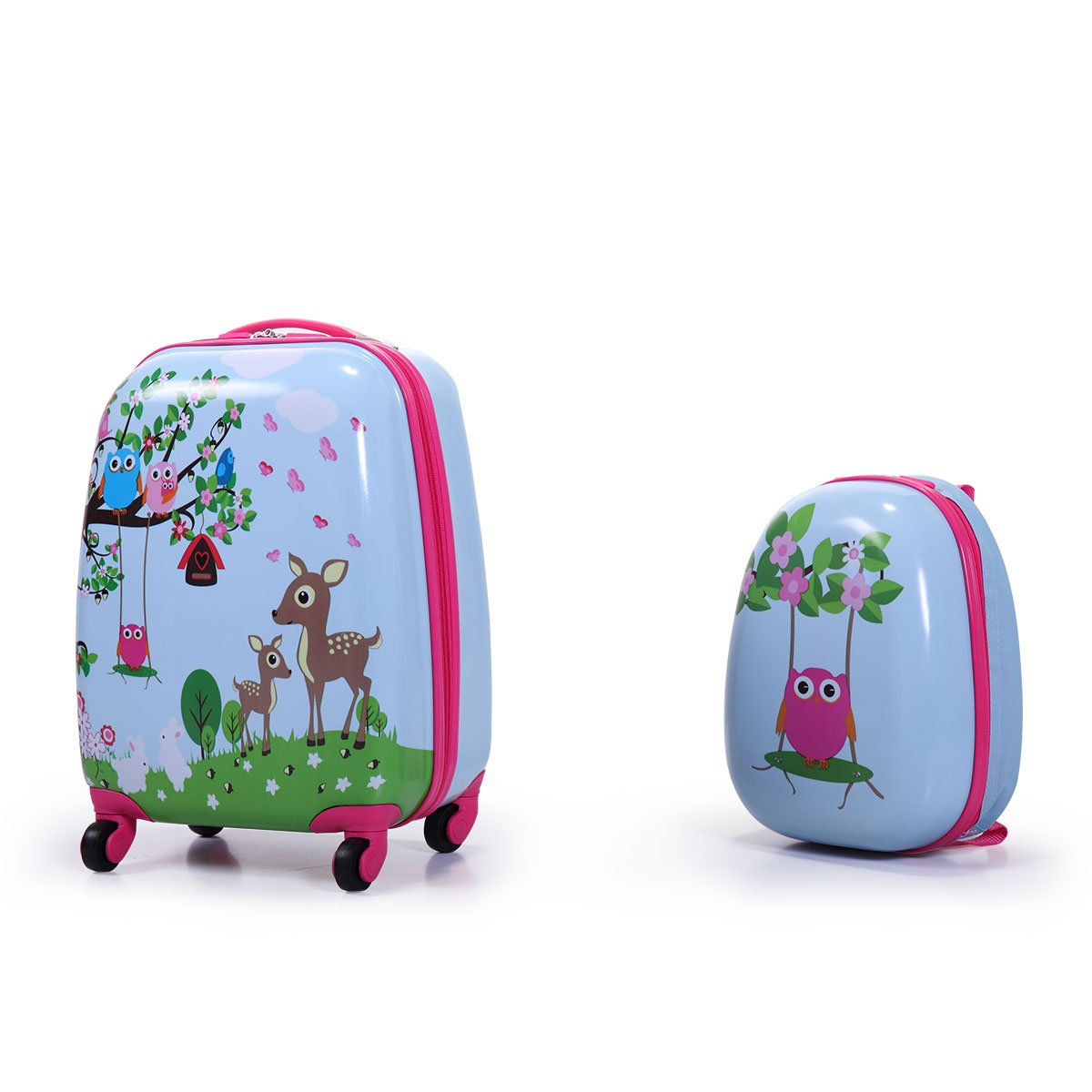 Tobbi 2PcKids Carry On Luggage and Backpack Upright Hard Side Hard Shell Suitcase 12'' 16'' Luggage for Toddler