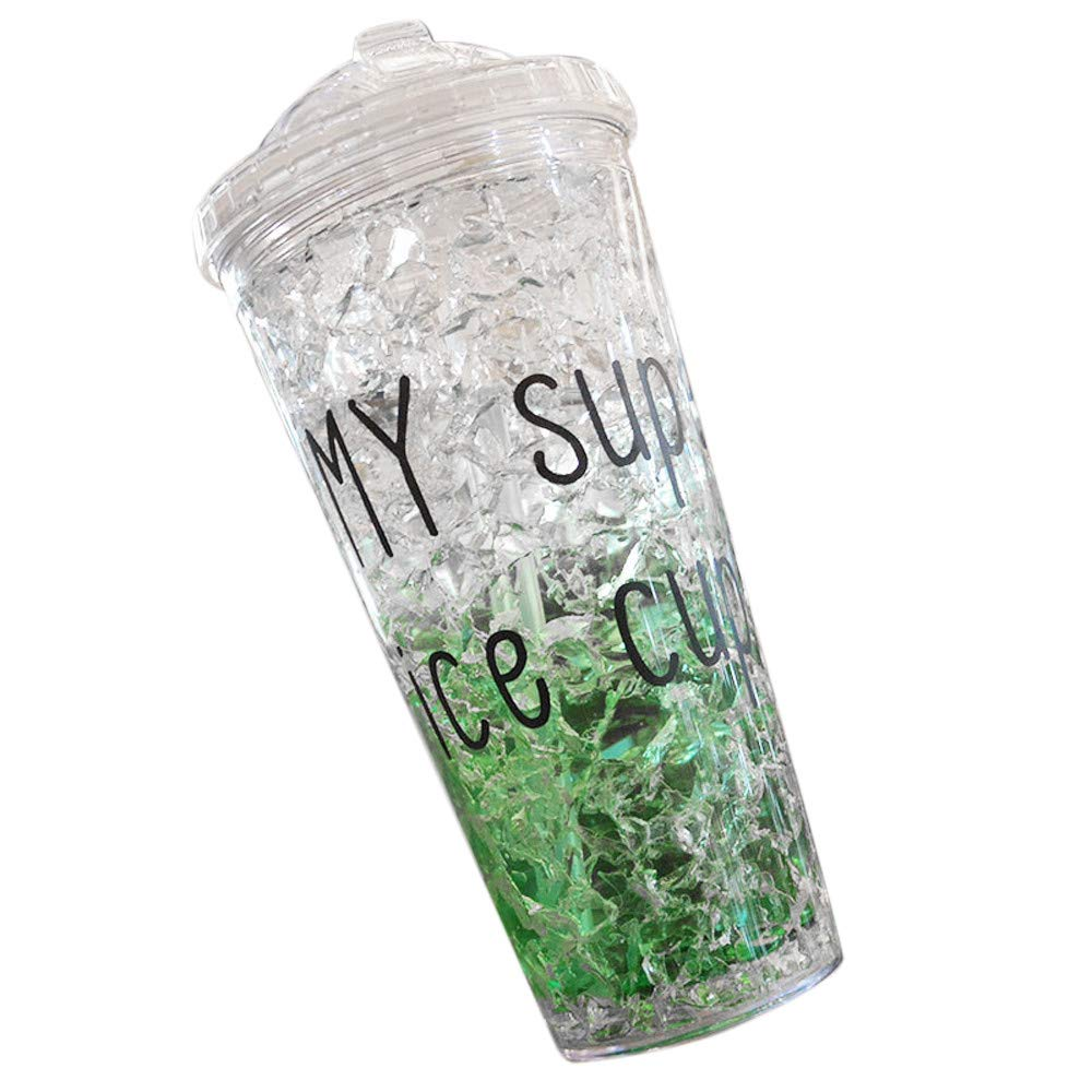 SportHome Summer Ice Glasses Plastic Water Bottle with Cover Refrigeration Crushed Ice Cups