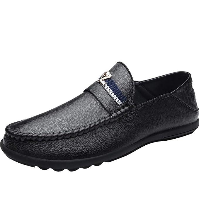 FHTD Mocasines Confort En Piel Mocasines Y Slip-On Con Cordones En Piel Mocasín Negro/Azul / Blanco Para Caminar: Amazon.es: Ropa y accesorios