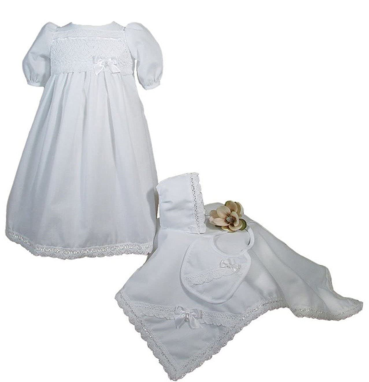 White Long Sleeve Boys Cotton Interlock Preemie Christening or Burial 4 Piece Set