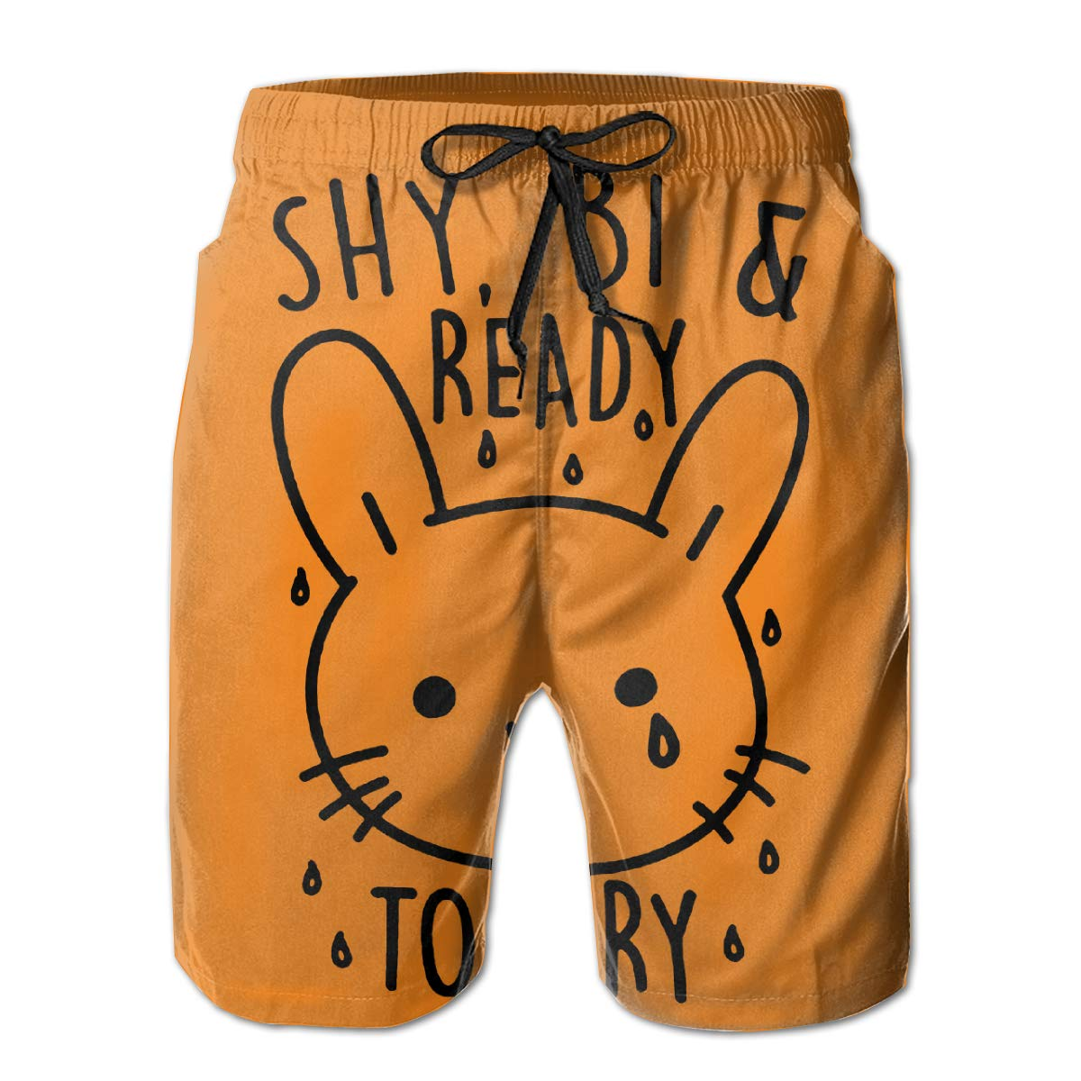 WWT Shy Bi Ready to Cry Mens Printed Beach Shorts with Mesh Lining//Side Pockets