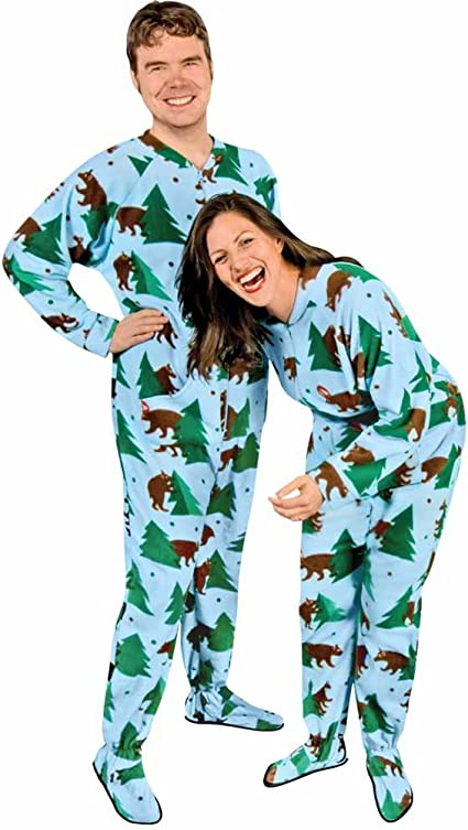 The Snooze Shack Fleece Footed Pajamas with Drop Seat