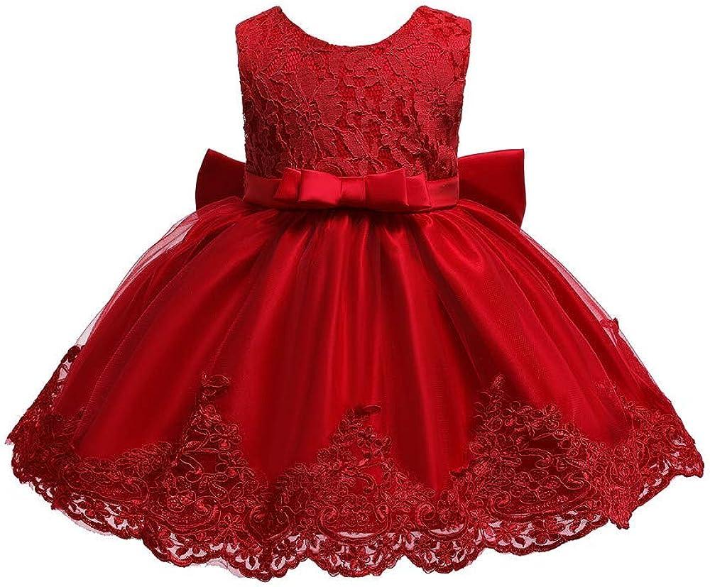 Frecoccialo Baby M/ädchen Prinzessin Kleid 2tlg Set Bowknot Spitze Taufkleid Festlich Kleid Hochzeit Party Festzug Taufe Tutu Kleid 0-2 Jahre