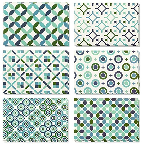 All Occasion Greeting Cards - 48-Pack Blank Note Cards with 6 Seamless Symmetrical Designs Blue Green, Bulk Box Set Variety Pack, 6 Circular Geometric Designs, Envelopes Included, 4 x 6 Inches