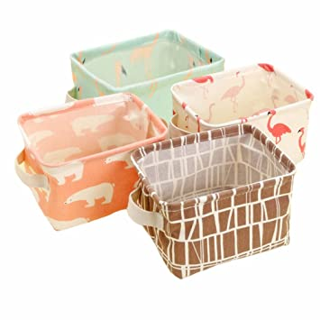 Storage Bins, Set Of 4 Mini Storage Baskets Containers For Baby Toys, Make  Up