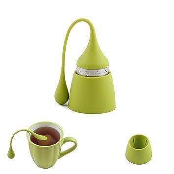 Infusor de té iNeibo de acero inoxidable y silicona de grado alimenticio, Bonita bola de té con el recipiente para el té suelto (1 juego/verde)