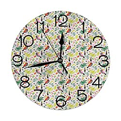GULTMEE Silent Wall Clock Non Ticking 10 inch Quartz Round Decorative, Exotic Birds and Palm Trees Colorful Hawaii Foliage and Animals Nature Illustration