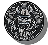 "1 Single Custom and Unique (3.5'' x 3.5'' inch) Round ""Funny Comedy""in Odin We Trust God Viking Morale Embroidered Applique Patch {White & Black Colors} [Licensed]"
