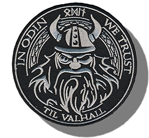 "1 Single Custom and Unique (3.5'' x 3.5'' inch) Round ""Funny Comedy""in Odin We Trust God Viking Morale Embroidered Applique Patch {White & Black Colors} [Licensed] by mySimple Products"