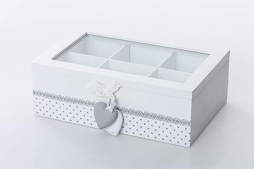Dream Hogar Caja te infusiones Corazones 6 Compartimentos Madera ...