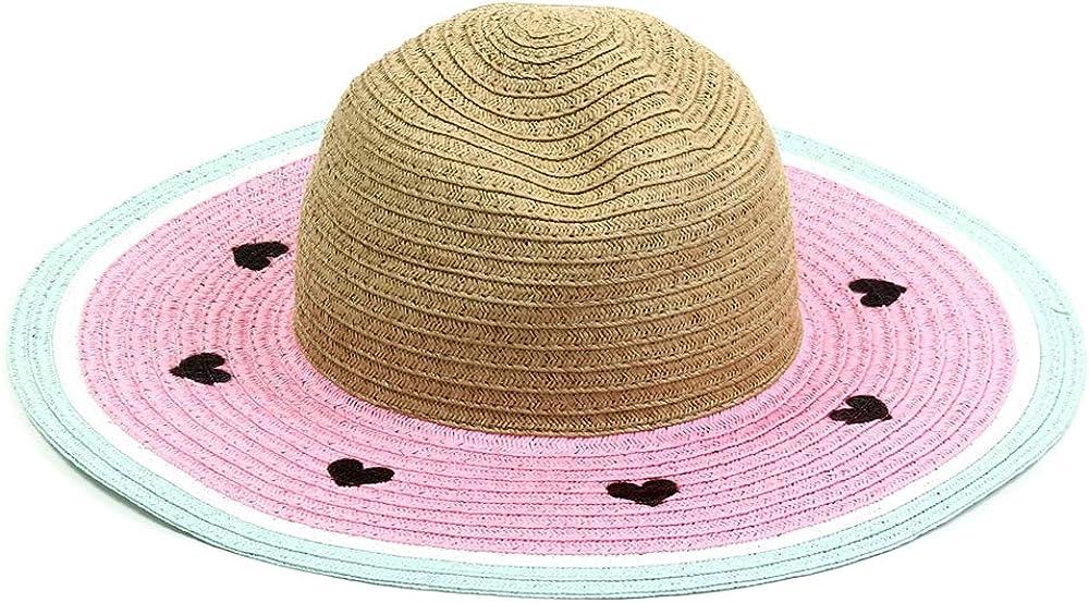 Ladies Floppy Beach Fruit Hat for Kids Pink Summer Hat Cute Watermelon Straw Sun Hat for Girls