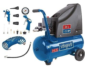 Scheppach HC25o Compresor, 1100 W, 24 l, 8 bares, potencia de aspiración de 165 l/min, ...