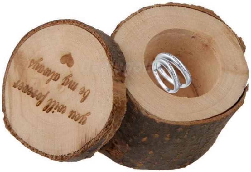 Leisial - 1 Caja de Anillos Rústico para Boda, Anillo de Madera, Organizador de Madera, Caja Rústica para Anillos, Bodas, Novias, Regalos, Aniversarios, compromisos, Recuerdos: Amazon.es: Hogar