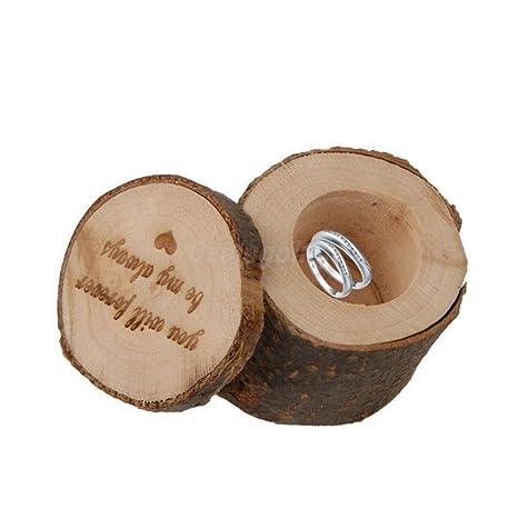 Leisial Caja del Anillo de Bodas Madera Suministros de Boda Caja del Anillo para Joyería Collar Pendientes Anillo Regalo de Cumpleaño San Valentín