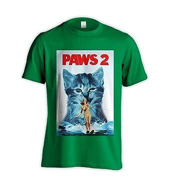 248ed71bd Paws 2 Jaws Parody Film Funny Cat Kitten Green T-Shirt (XXX-Large): Amazon. co.uk: Clothing