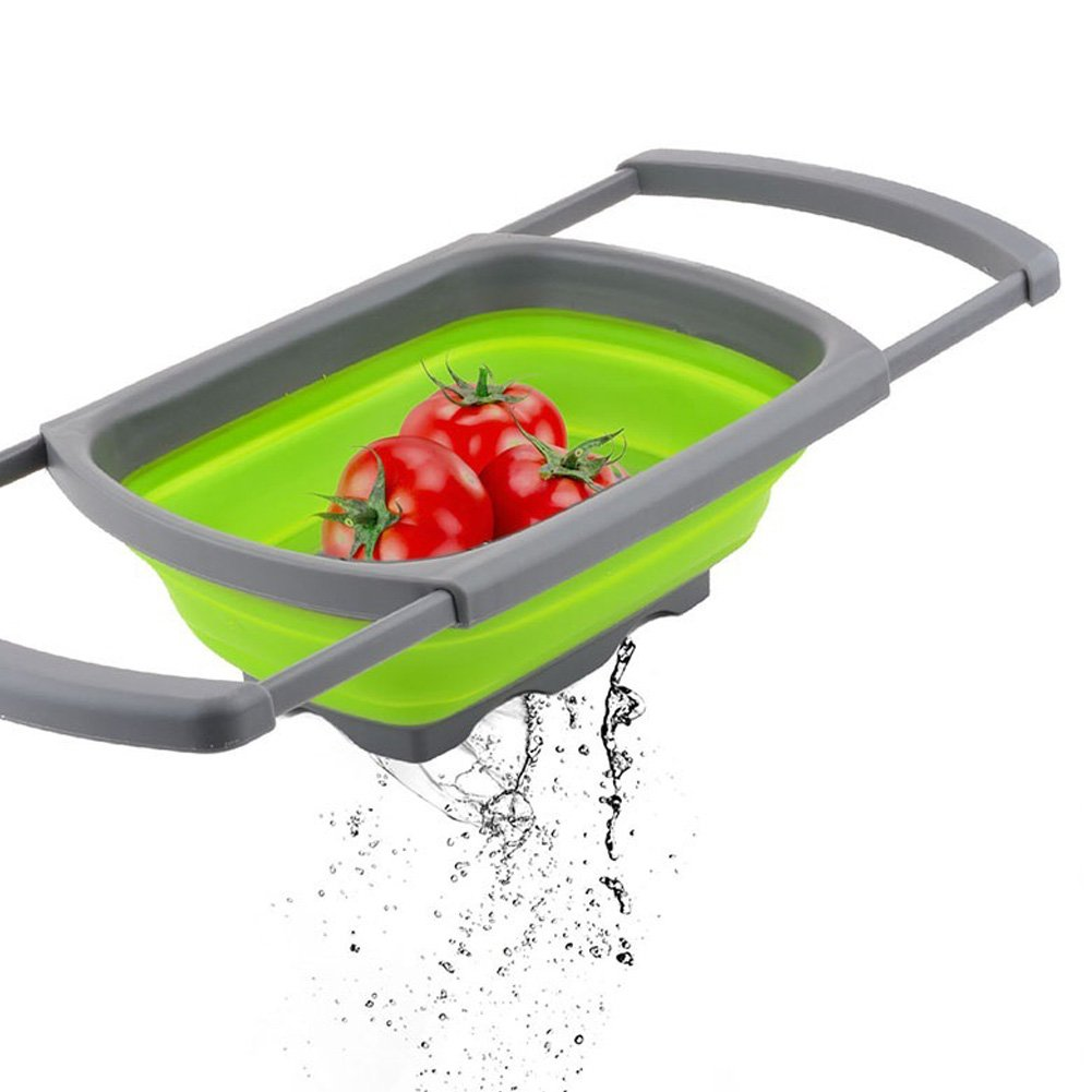 Ireav Foldable Fruit Basket Silicone Colander Vegetable Container Filter Water Tools Adjustable Food Basket Kitchen Tools