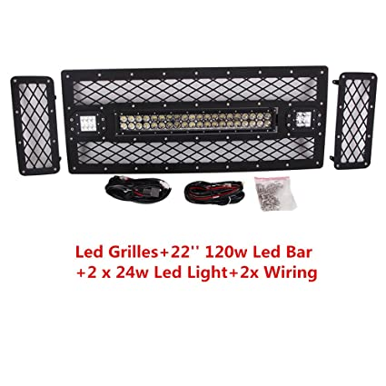 amazon com: lumitek 2008-2010 ford f250 f350 led grilles, front grille mesh  grill replacement with led work light bar and free wiring harness:  automotive