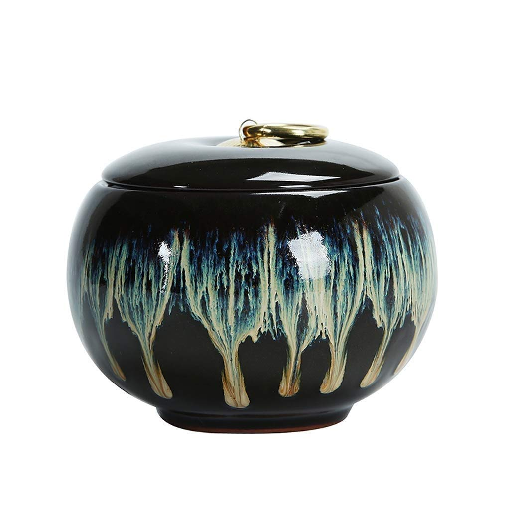 ZAQXSW 5'' Medium Cremation Urn Funeral Urns Burial Urns for Human Ashes and Pet Hand-Painted Blue and Black by ZAQXSW