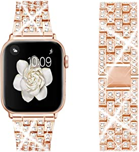 Dsytom Bing Band Compatible with Apple Watch Band 44mm 42mm 38mm 40mm,Jewelry Replacement Metal Wristband Strap for iWatch Band Series 6/5/4/3/2/1/SE(Rose Gold)