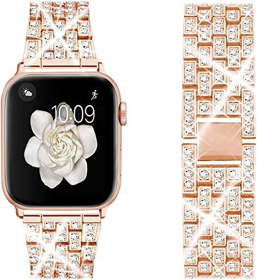 Amazon Com Dsytom Bing Band Compatible With Apple Watch Band 44mm 42mm 38mm 40mm Jewelry Replacement Metal Wristband Strap For Iwatch Band Series 6 5 4 3 2 1 Se Rose Gold