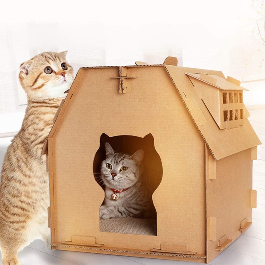 Cartón Casa del Gato Rascador, Cat Scratcher del Gato del Gatito Casa En Forma De Albergue Cama Nido De La Pata De Molienda Chew Toy, Bricolaje Reciclable Cartón De Papel del Gato